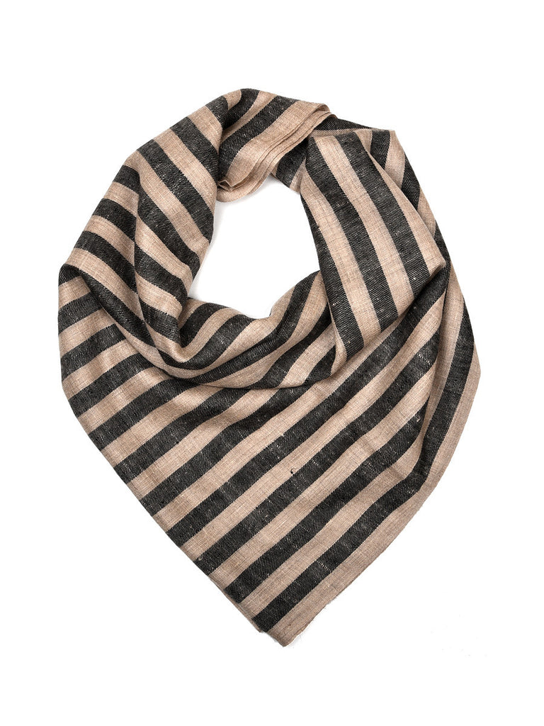 Black & Beige stripes pure pashmina stole