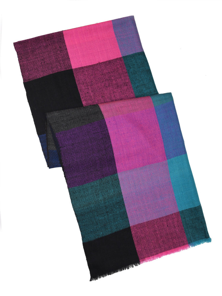 Multicolor broad checks pure pashmina stole