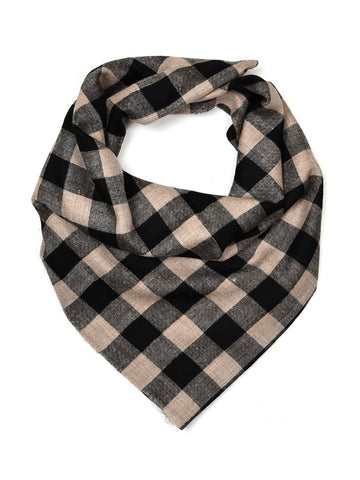 Black & Beige checks pure pashmina stole with chashme bulbul weave