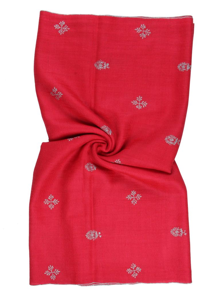 Brink Pink pashmina stole with floral hand embroidery