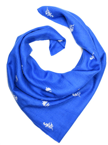 Cornflour blue pashmina stole with booti hand embroidery