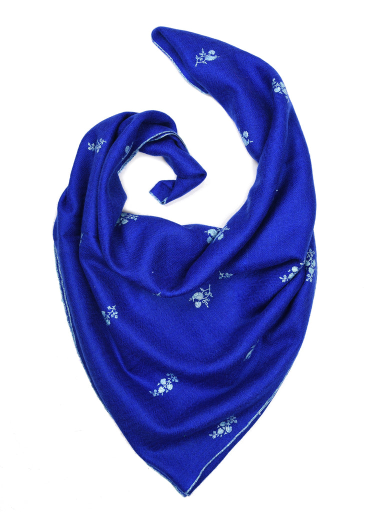 Electric blue pashmina stole with all over booti hand embroidery