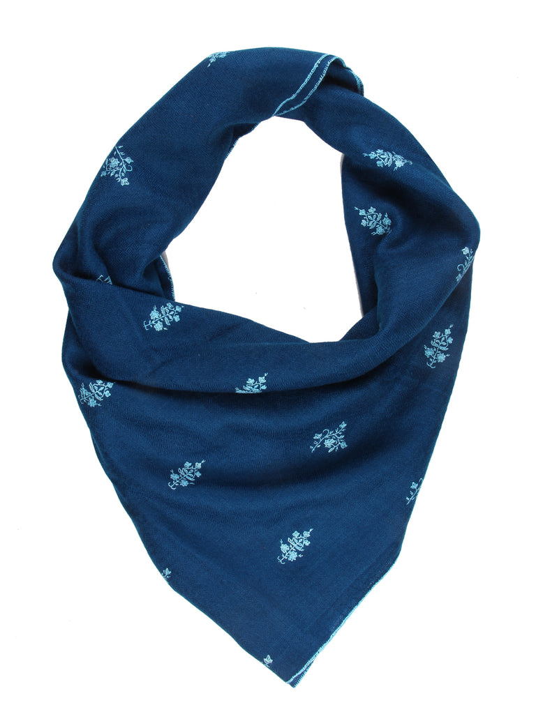 Peacock blue pashmina stole with floral hand embroidery