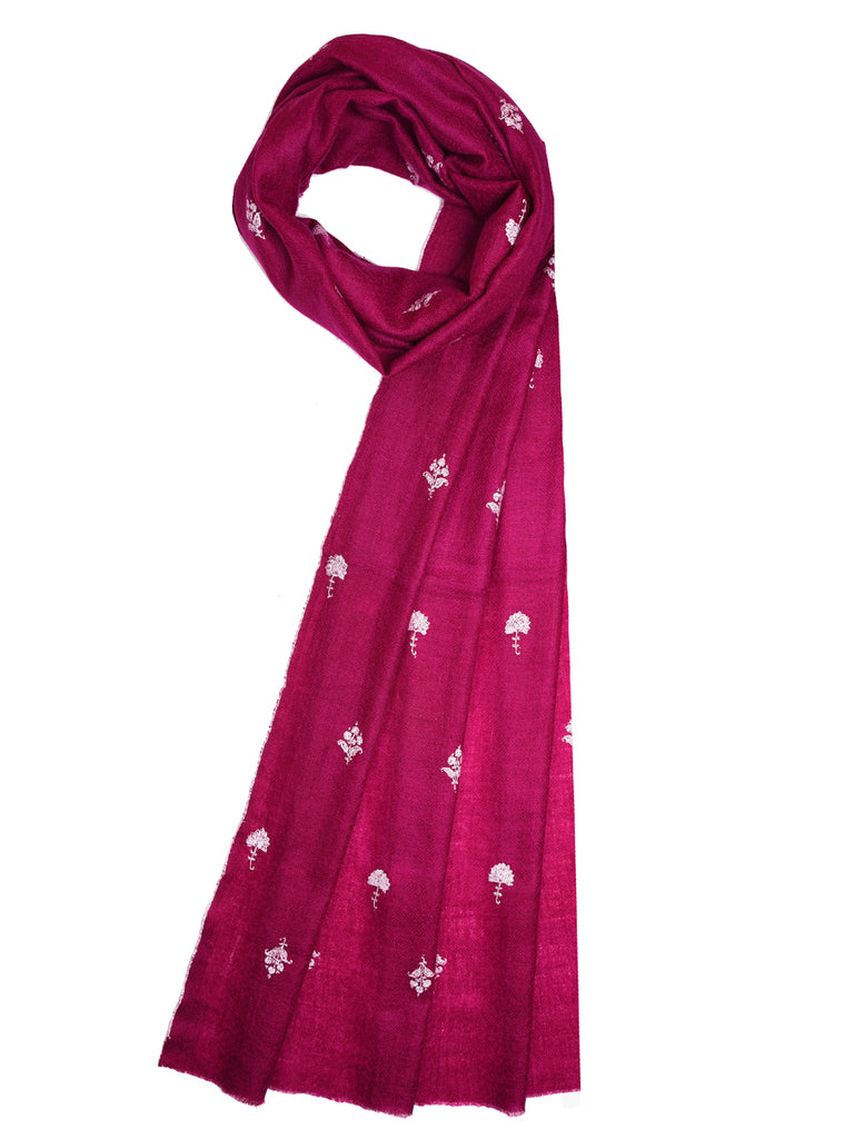 Plum pashmina stole with floral bootis all over