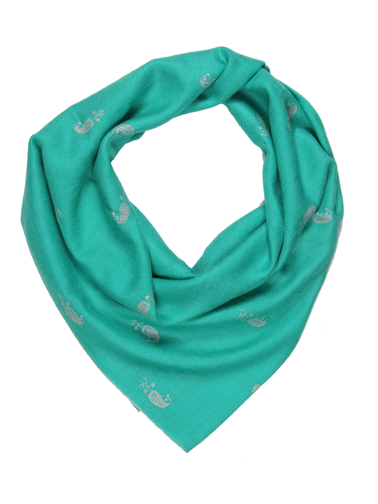 Sea Green pashmina with all over booti hand embroidery