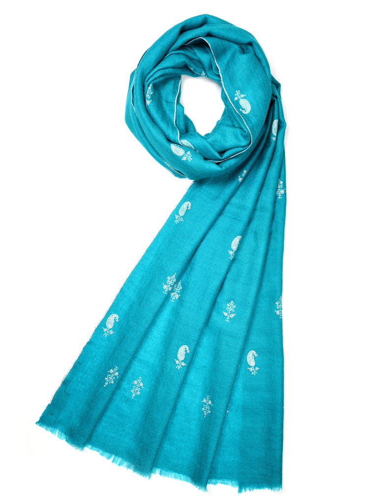 Teal blue pashmina stole with all over booti hand embroidery