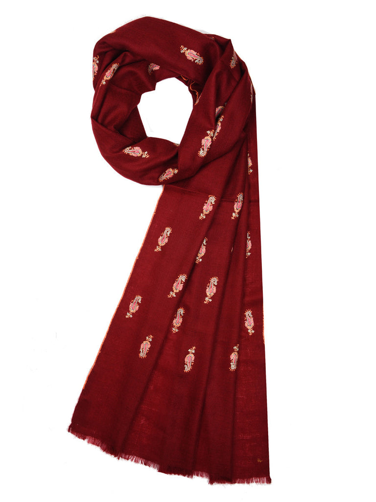Maroon pure pashmina stole with booti hand work