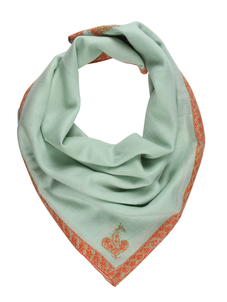 Green pure pashmina stole with orange hand embroidery
