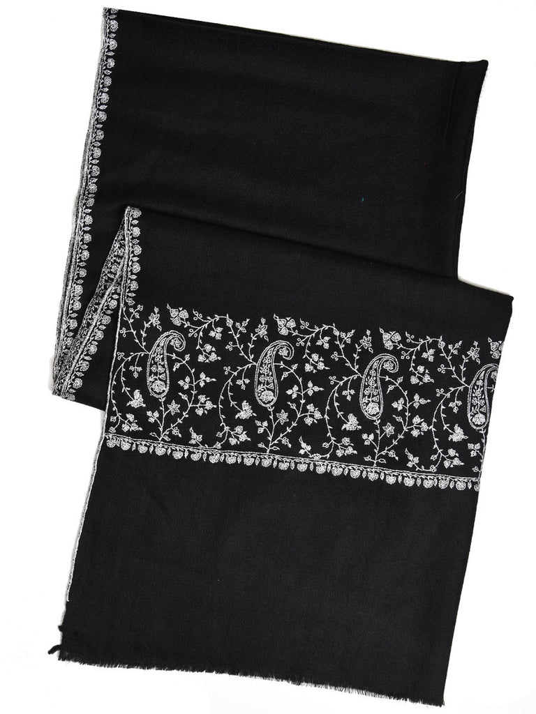 Black pure pashmina stole with white hand embroidery