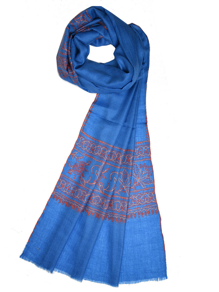 Blue-Grey pure pashmina stole with orange hand embroidery