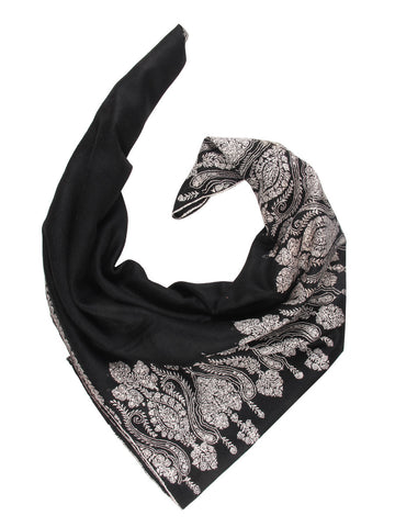 Black pure pashmina stole with white embroidery
