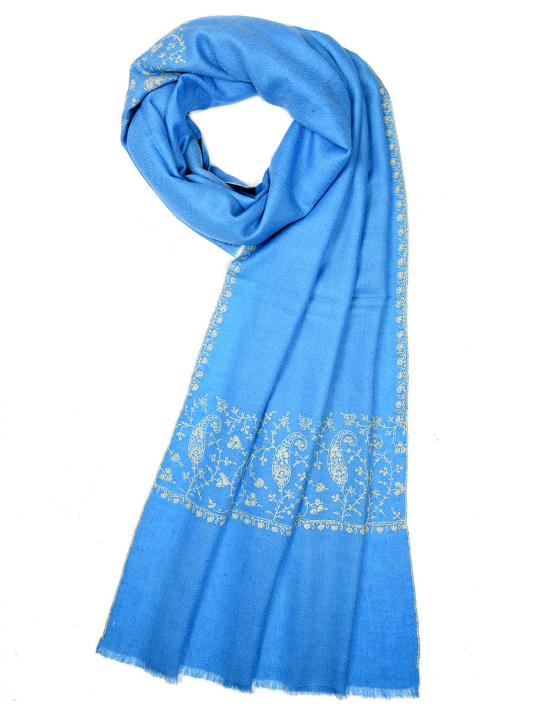 Blue-Grey pure pashmina stole with white hand embroidery