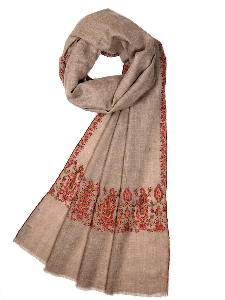 Natural color pure pashmina stole with intricate orange embroidery