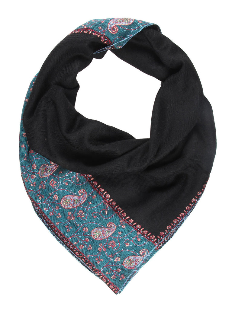 Black Pure Pashmina Stole with Paisley Embroidery on Palla