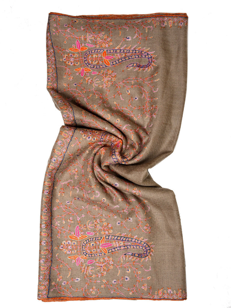 Natural color pure pashmina stole with pink and orange hand embroidery