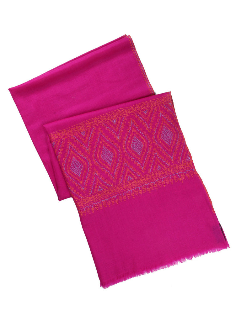 Pink pure pashmina stole with orange hand embroidery on palla