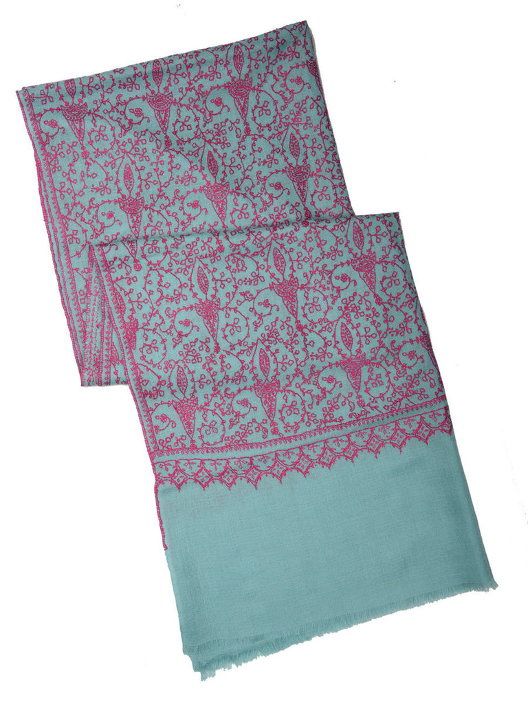 Pine green pure pashmina stole with pink hand embroidery jal