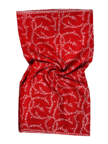 Deep red pure pashmina stole with beige hand embroidery jal