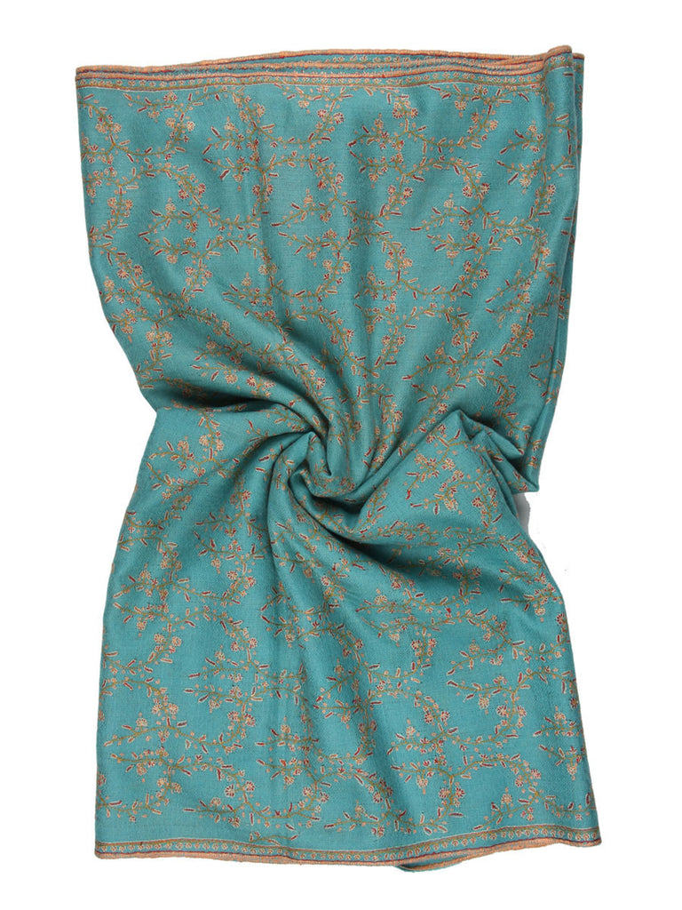 Sea Green Pure Pashmina Stole with Orange Hand Embroidery Jal