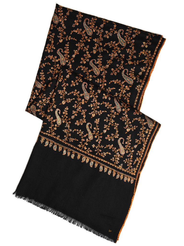 Black pure pashmina stole with orange hand embroidery jal