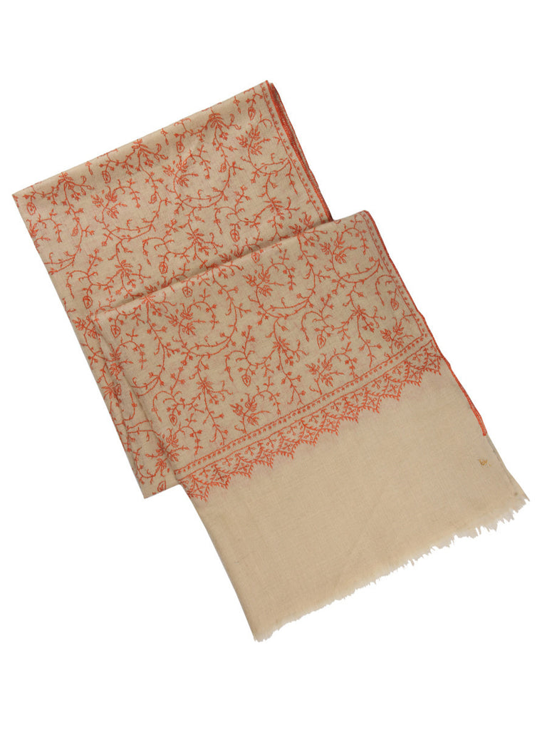 Off-White pure pashmina stole with orange hand embroidery jal