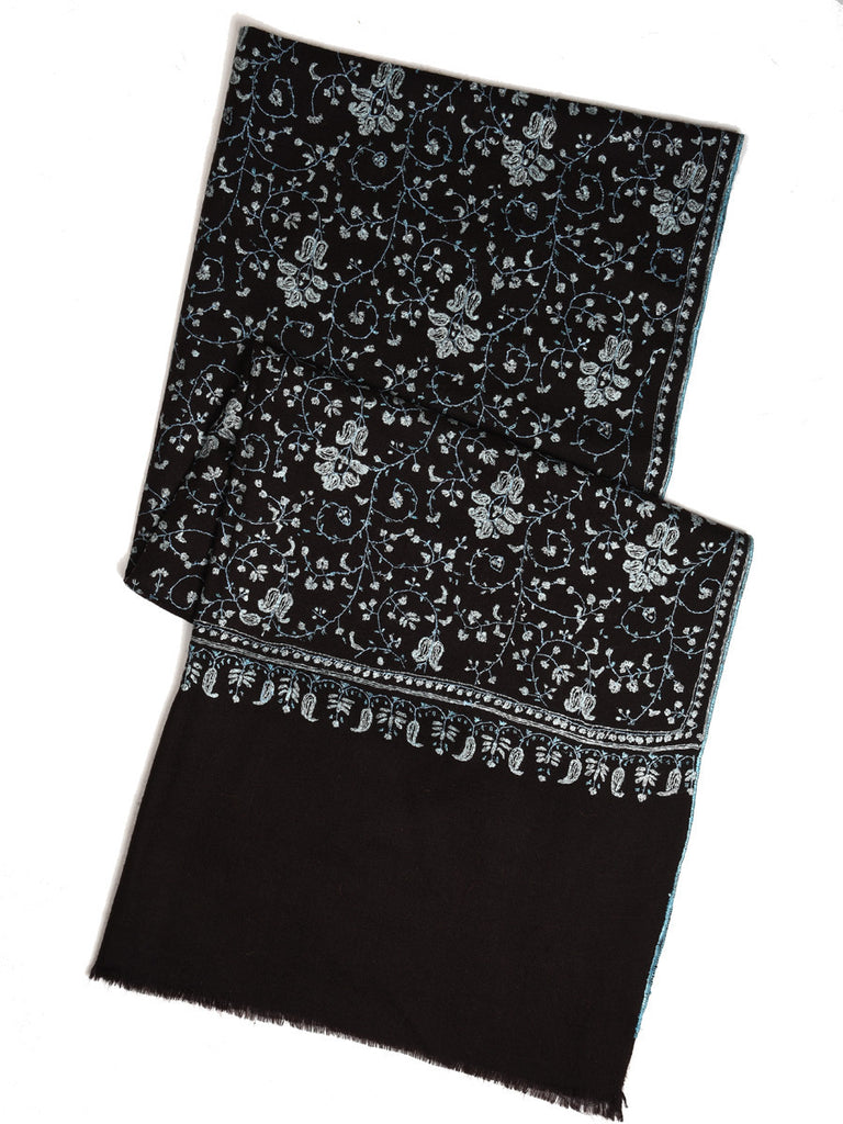 Pure black pashmina with blue hand embroidery jal