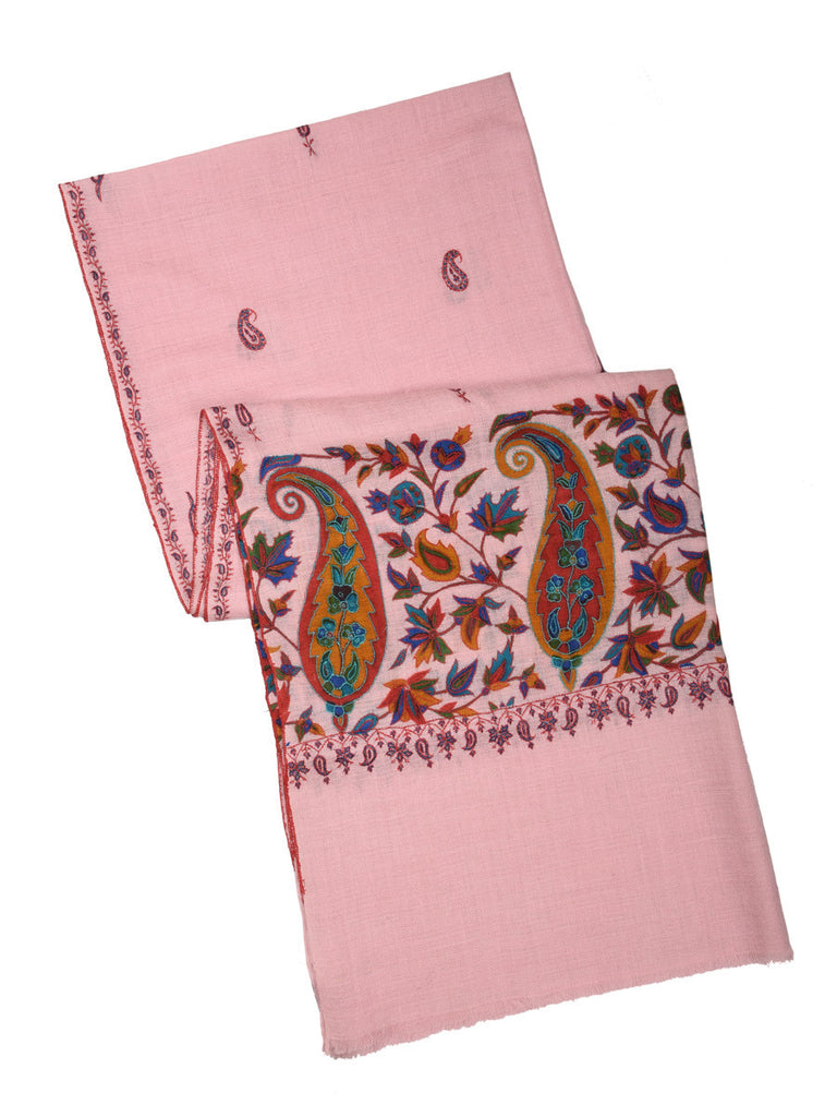 Flamingo pink Kalamkari pashmina stole with print and booti