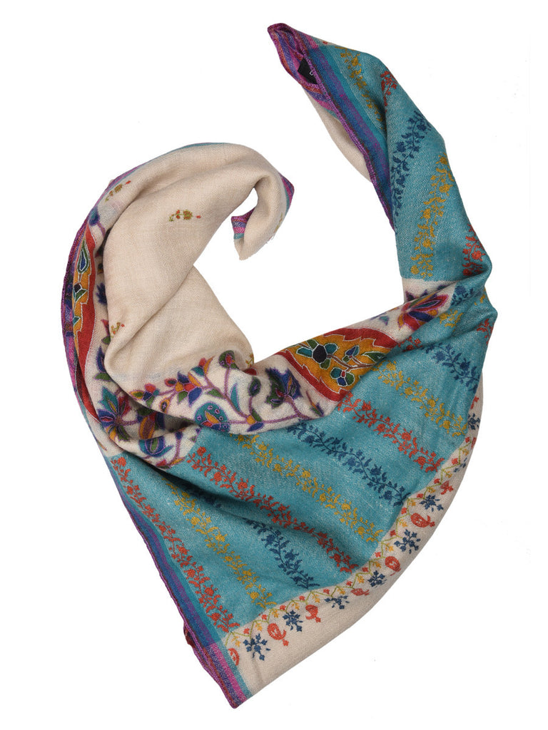 Off-white pure pashmina stole with double Kalamkari print on palla and all over booti