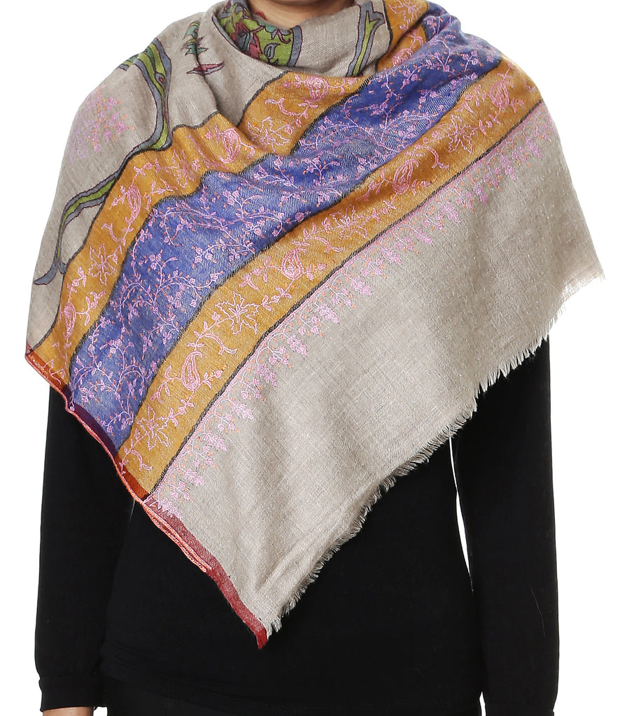 Natural shade Pashmina Stole with Paisley Kalamkari