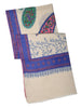 White Pure Pashmina Stole with all over Paisley Kalamkari Print