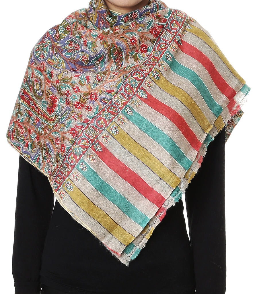 Natural color Kalamkari Jama pashmina stole
