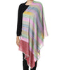 Multicolor Stripes Pure Pashmina Stole with Red Tana Bana Palla