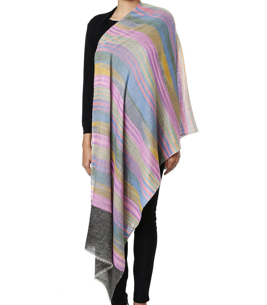 Multicolor Stripes Pure Pashmina Stole with stone black Tana Bana Palla