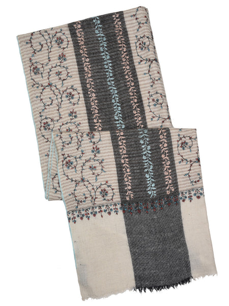 Off-white pure pashmina stole with stripes & hand embroidery