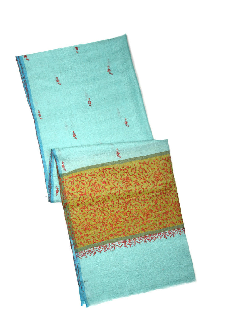 Tiffany Blue pashmina stole with hand embroidery on palla and all over booti