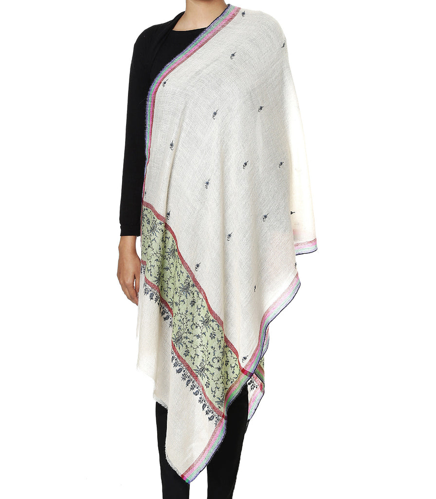 White pashmina stole with green color embroidered palla and all over booti