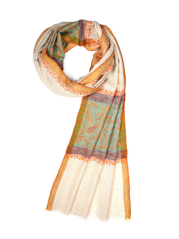Beige pashmina stole with hand embroidered palla