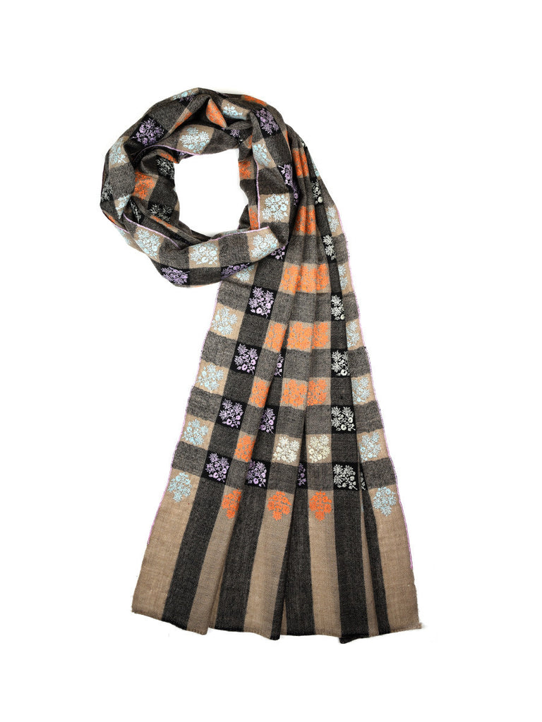 Black & Grey checks pure pashmina stole with booti hand embroidery