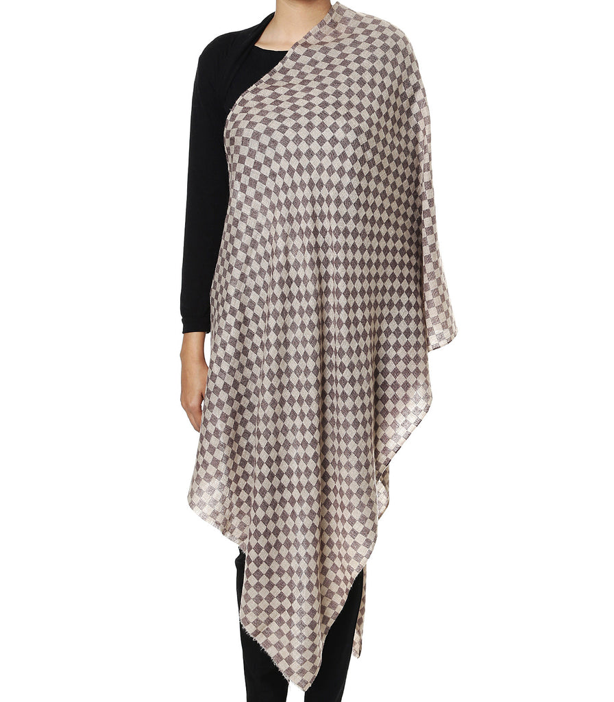 Beige & Black chess board checks pashmina stole