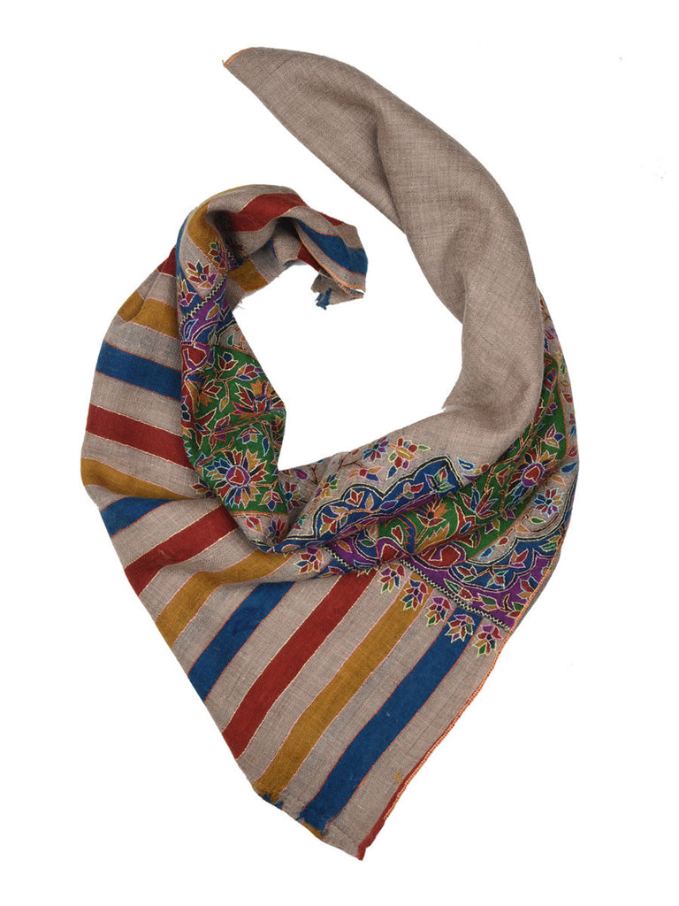 Beige pashmina stole with bright kalamkari paisley print on palla