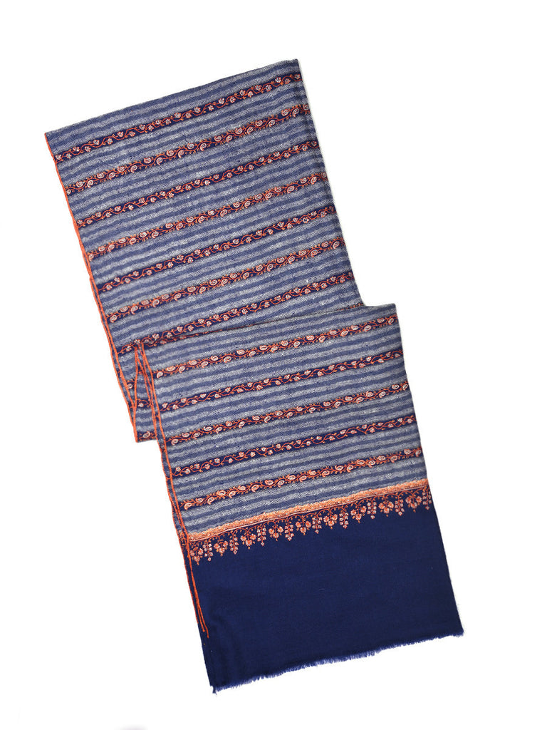 Blue stripes pashmina stole with orange hand embroidery