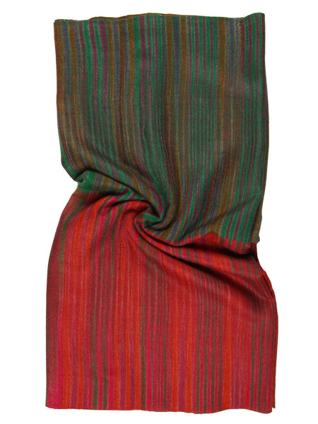 Orange & Green Stripes Pashmina Stole