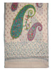 White Kalamkari Pashmina Stole with Paisleys, Booti & White Embroidered Palla