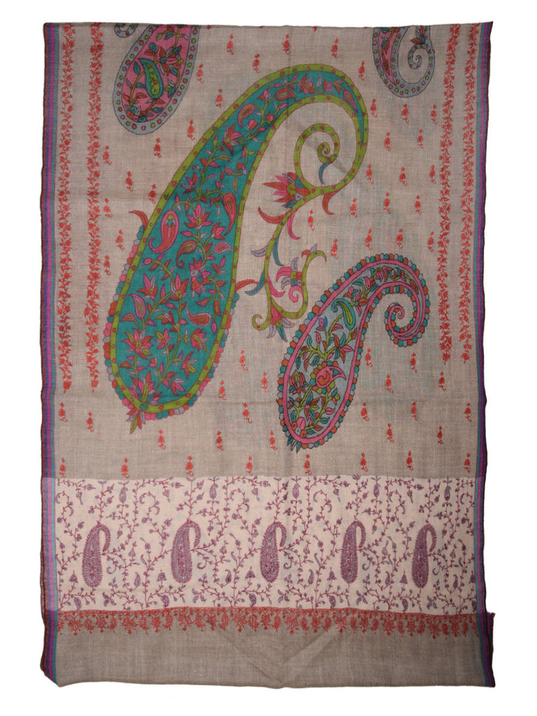 Natural Color Kalamkari Pashmina Stole with Paisleys, Booti & White Embroidered Palla