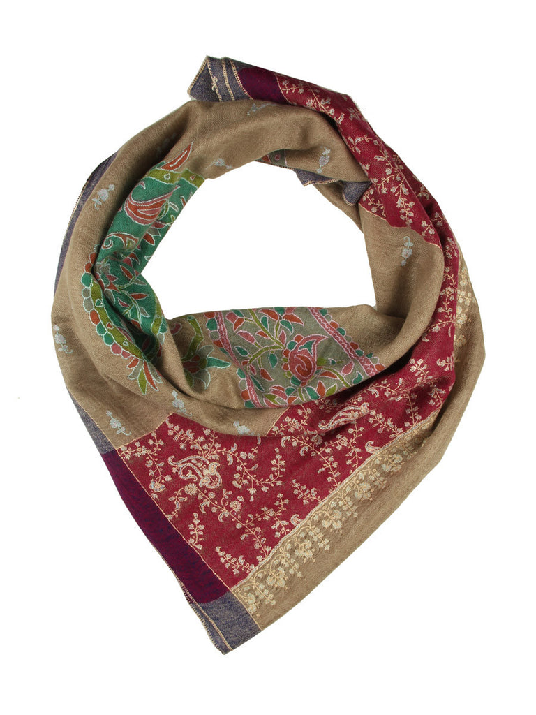 Natural Color Kalamkari Pashmina Stole with Paisleys, Booti & Maroon Embroidered Palla