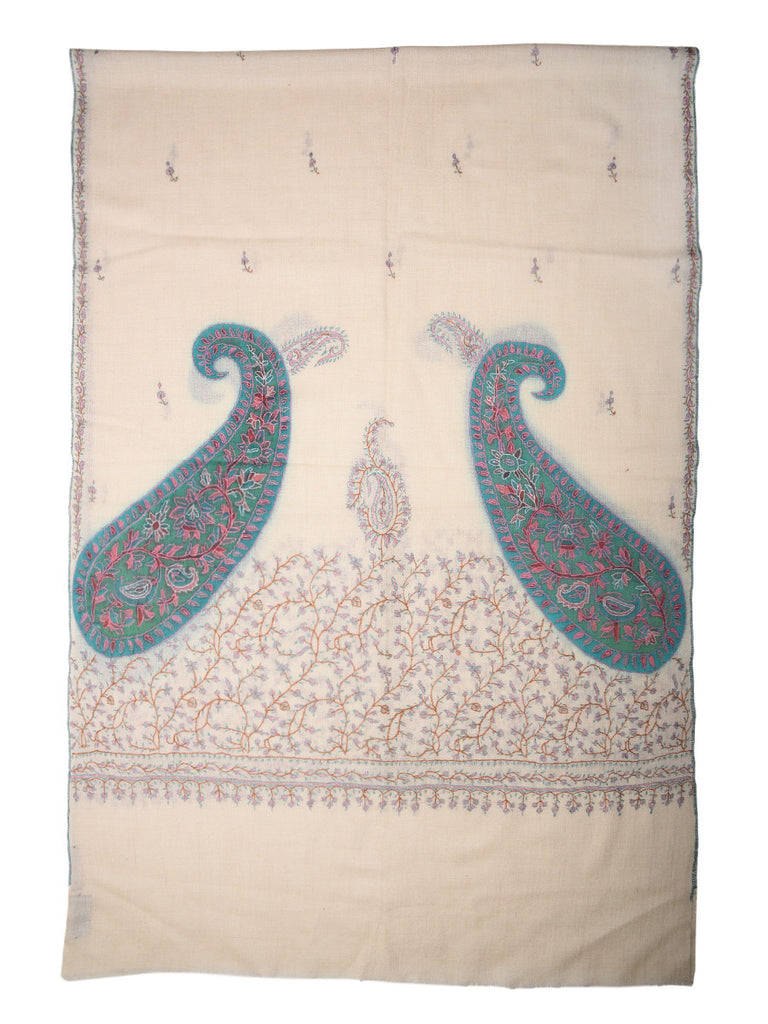 Off-White Kalamkari Pashmina Stole with Cornered Paisleys and Booti