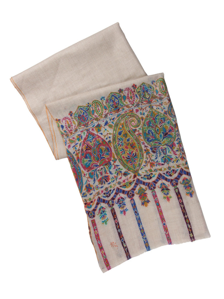 Off-White Pashmina Stole with Kalamkari Print on Palla