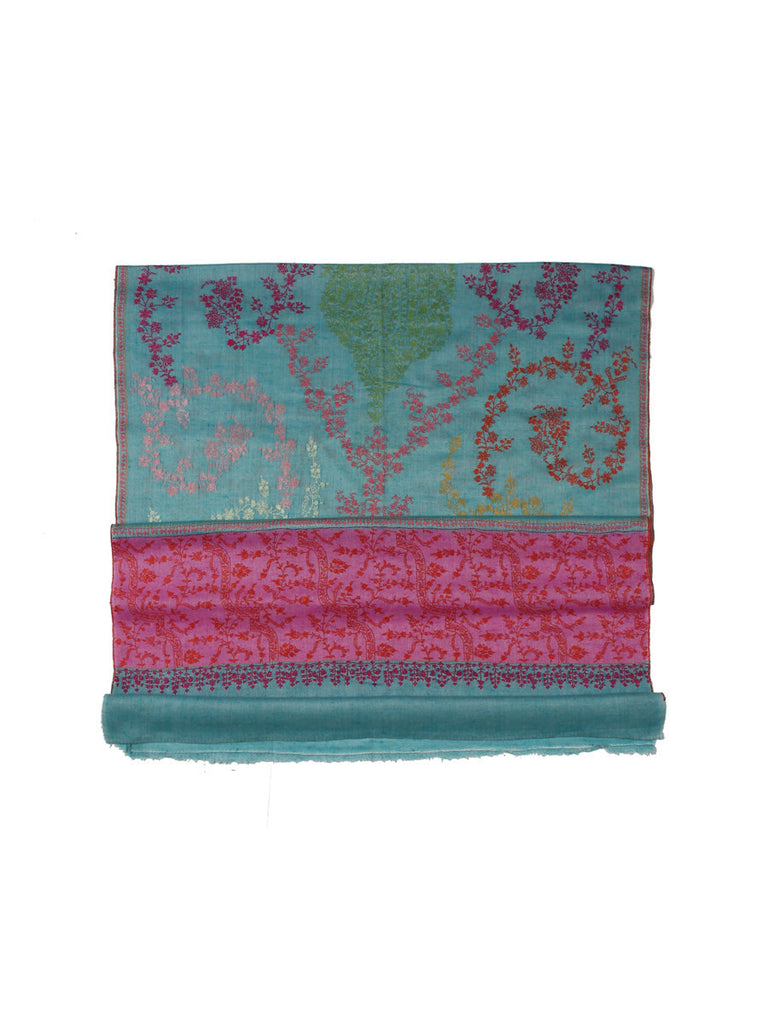 Turk Blue Pashmina Stole with Jal Hand Embroidery & Pink Palla