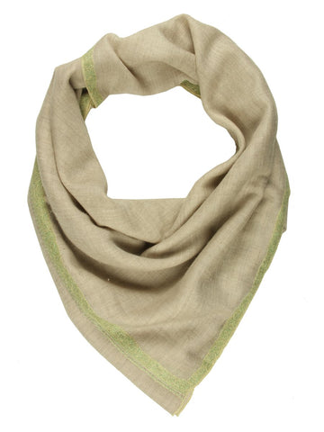 Beige Pashmina Stole with Green Hand Embroidered Border