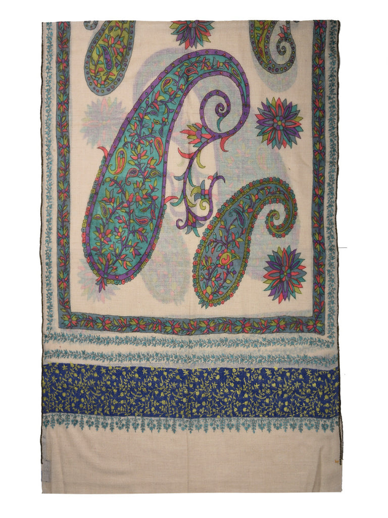 Beige Pure Pashmina Stole with all over Paisley Kalamkari